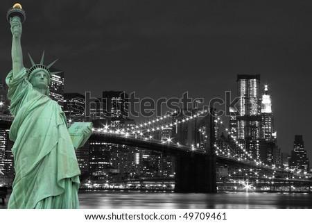 New York City Skyline, Brooklyn Bridge and The Statue of Liberty
