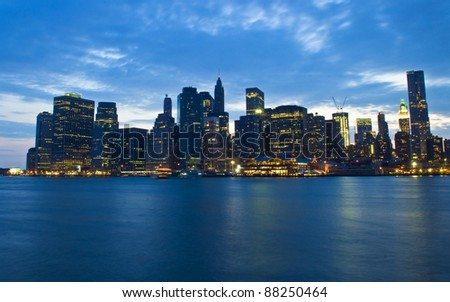 New York city skyline by night taken from Brooklyn