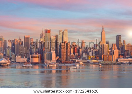 New York City skyline, cityscape of Manhattan in USA at sunset