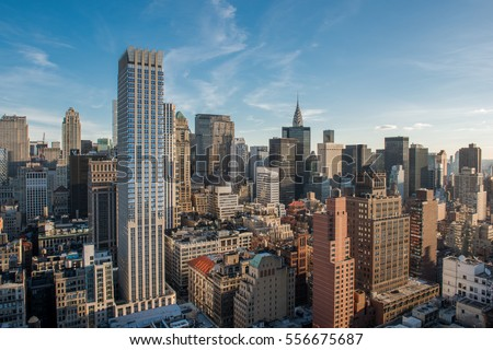 New York City skyline during the daytime with long scenic detailed views #556675687