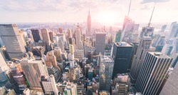 New york city skyline in the evening.