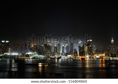 New York City skyline in the fog of night