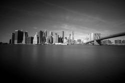 New York City Skyline, Manhattan and Brooklyn bridge view in black and white