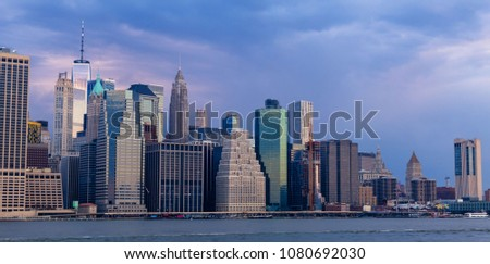 New York City skyline, Manhattan colorful  landscape on the sunset from Brooklyn  #1080692030