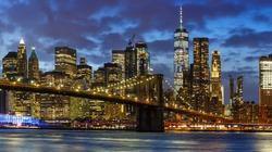 New York City skyline night Manhattan town panoramic Brooklyn Bridge World Trade Center WTC