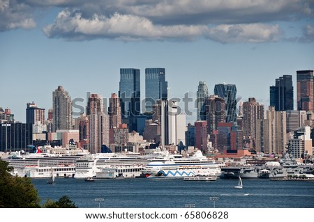 new york city skyline over hudson river, nyc