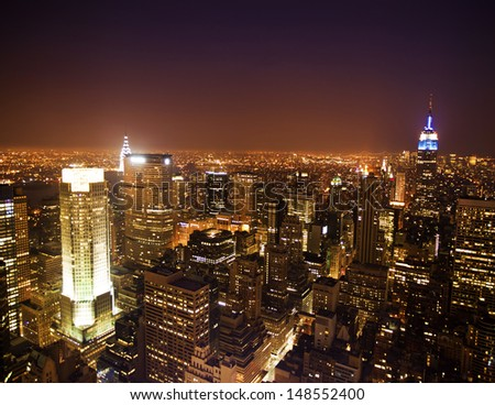 New York City skyline panorama at night #148552400