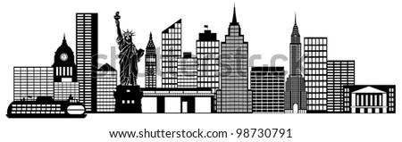 New York City Skyline Panorama Black and White Silhouette Clip Art Illustration