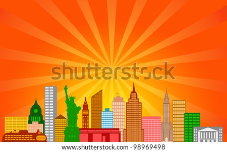 New York City Skyline Panorama Color Silhouette with Sun Rays Clip Art Illustration