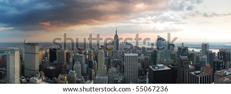 New York City skyline panorama. Manhattan aerial view.
