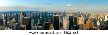 New York City skyline panorama with central park. Manhattan aerial view.