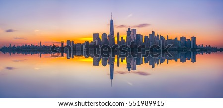 New York City Skyline Reflections at sunrise  #551989915