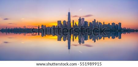 New York City Skyline Reflections at sunrise