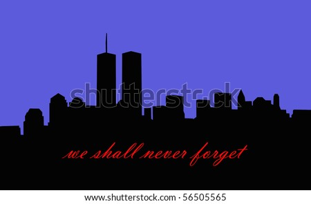 new york city skyline silhouette with twin towers