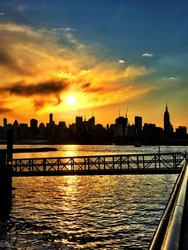 New York City skyline Sunrise on the Hudson River iPhone photo