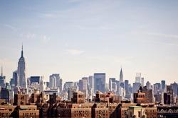 New York city skyline taken from Brooklyn bridge