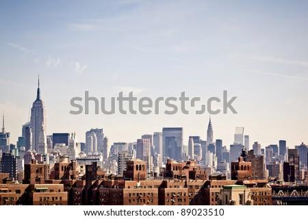 New York city skyline taken from Brooklyn bridge #89023510