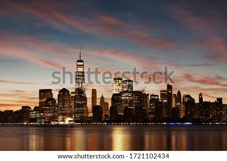 New York City skyline urban view with historical architecture