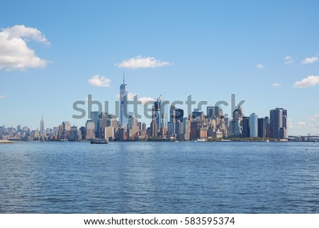 New York city skyline wide view in a clear sunny day #583595374