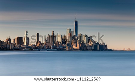 New York City Skyline with building in the morning sunlight #1111212569