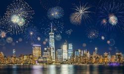 New York City Skyline with Fireworks on the sky. New Years Eve Celebration