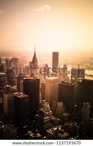 New York City skyline with golden light from midtown Manhattan #1137193670