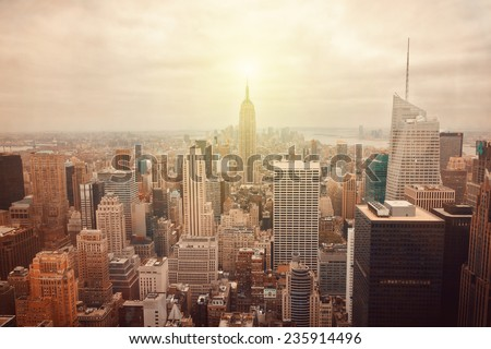New York City skyline with retro filter effect #235914496