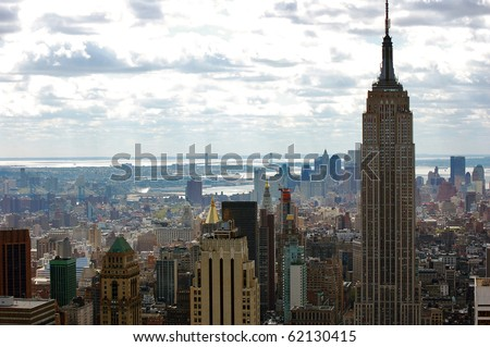 New York City skyline with the Empire State Building.