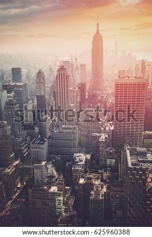New York City skyline with urban skyscrapers at gentle sunrise, famous Manhattan view, USA #625960388