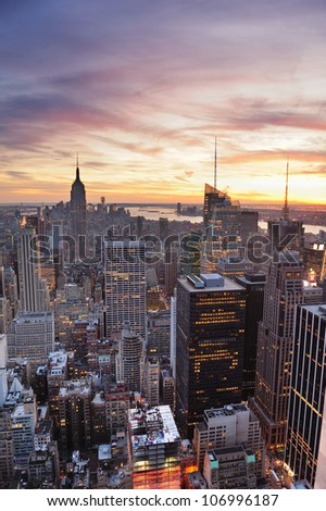 New York City skyline with urban skyscrapers at sunset. #106996187