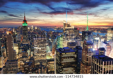 New York City skyline with urban skyscrapers at sunset. #114734815