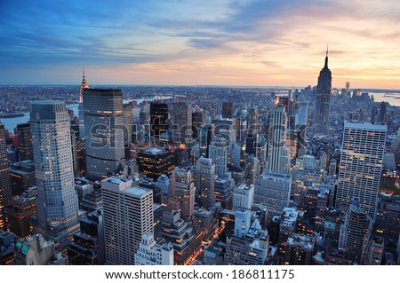 New York City skyline with urban skyscrapers at sunset. #186811175