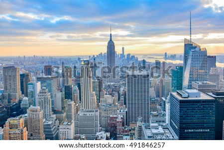 New York City skyline with urban skyscrapers at sunset. #491846257