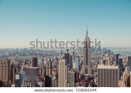 New York City skyline with urban skyscrapers in vintage style #558006544