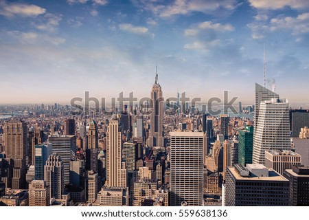 New York City skyline with urban skyscrapers in vintage style #559638136