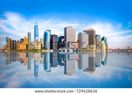 New York City skyline with view of Financial District in lower Manhattan #729628636