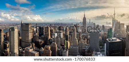 New York City skyscrapers, aerial panorama view