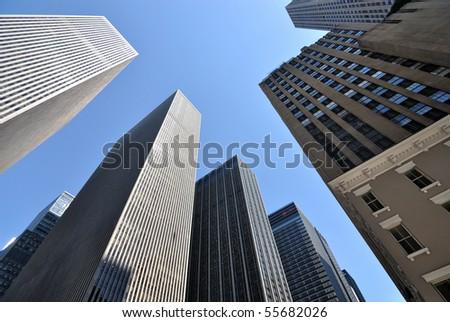 New York City skyscrapers bask in sunlight.