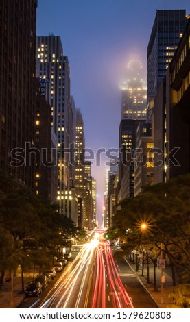 New York City skyscrapers from Tudor City in Manhattan at night with long exposure Stock fotó ©