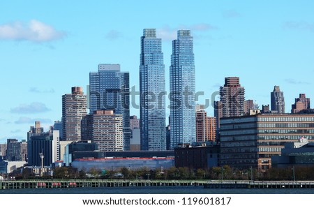 New York City skyscrapers in midtown Manhattan   panorama view in the day. USA