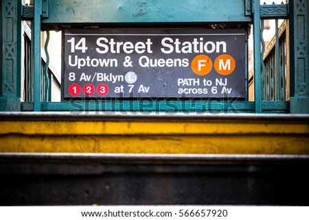 New York City subway entrance at 14 Street station  Stock fotó ©