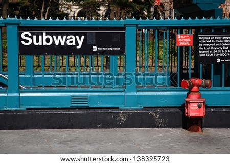 New York City Subway. Iconic street level platform at Manhattan subway stop.