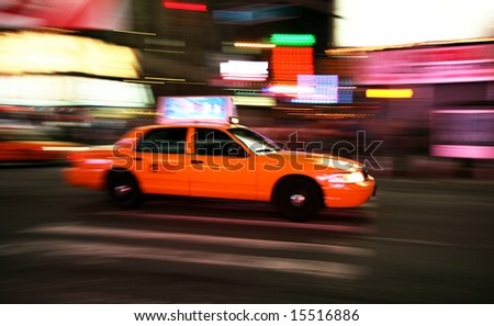 New York City taxi on the night street. Motion shot.