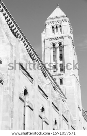 New York City - Temple Emanu-el, synagogue next to 5th Avenue. Black and white retro style. Stock fotó ©