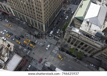 Shutterstock New York City 5th Ave Vertical view. Aerial view of streets of NYC