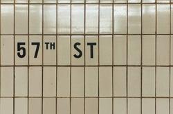 New York City 57th Street Subway Station tile signage