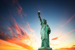 New York City, The Statue of Liberty in a colorful sunset