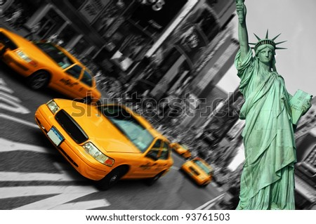 new york city, times square, taxi focus motion blur - stock photo