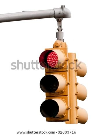 New  York City Traffic light with red warning isolated on a white background