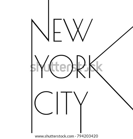 New York city typography design. NYC round banner, poster, sport t-shirt print design and apparels graphic.